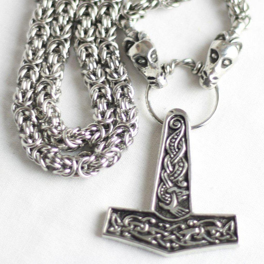 Asgard Jorvik Hammer Pendant on Dragon Chain