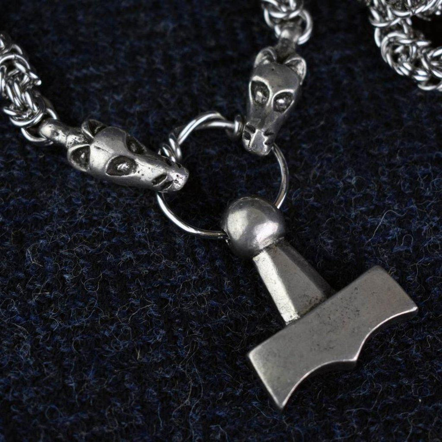 Asgard Mjolnir Pendant on Dragon Chain
