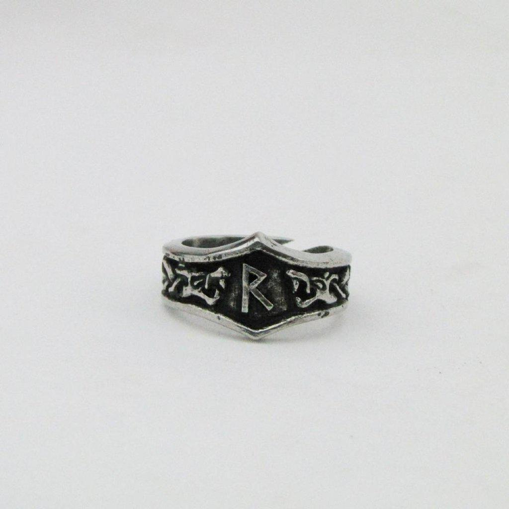 Asgard Raido Letter R Rune Ring - Adjustable-Asgard-Dark Fashion Clothing