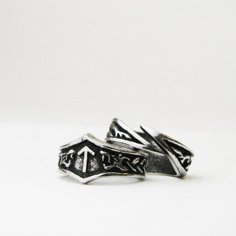 Asgard Tiwaz Letter T Rune Ring - Adjustable-Asgard-Dark Fashion Clothing