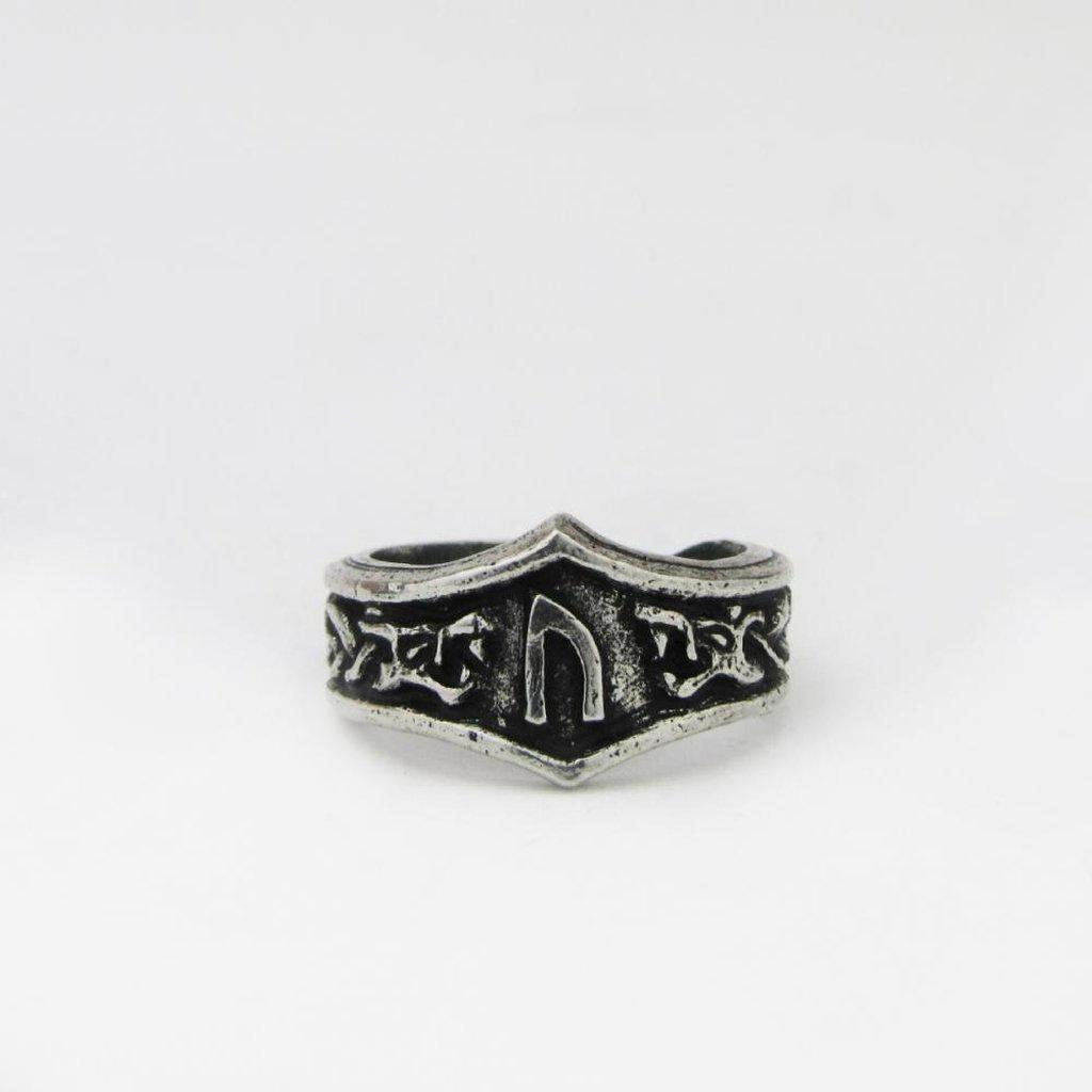 Asgard Uruz Letter U or V Rune Ring - Adjustable-Asgard-Dark Fashion Clothing