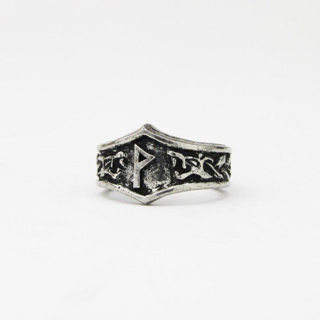 Asgard Wunjo Letter W rune Ring - Adjustable-Asgard-Dark Fashion Clothing