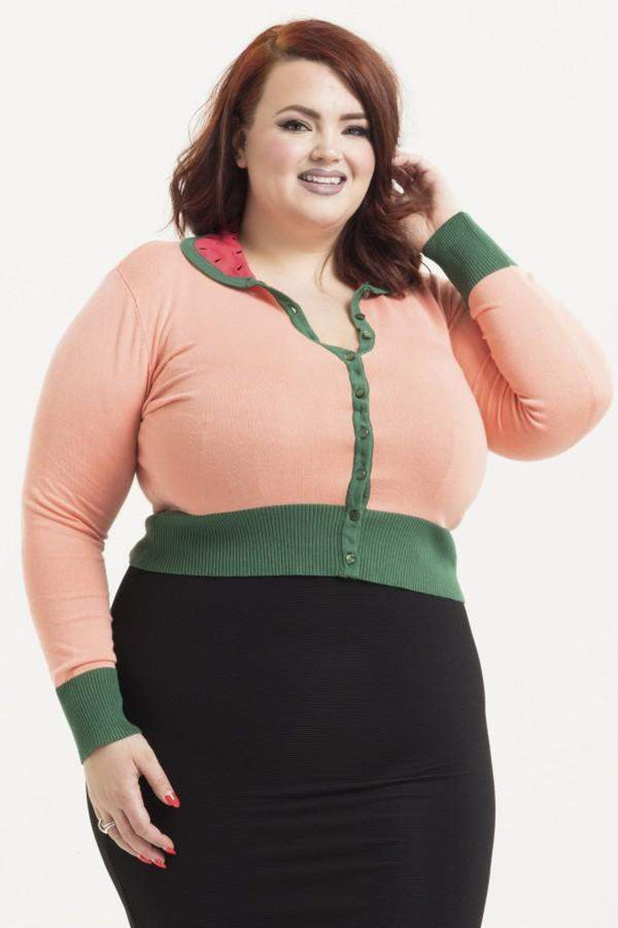 Baby Watermelon Plus Size Cardigan-Voodoo Vixen-Dark Fashion Clothing