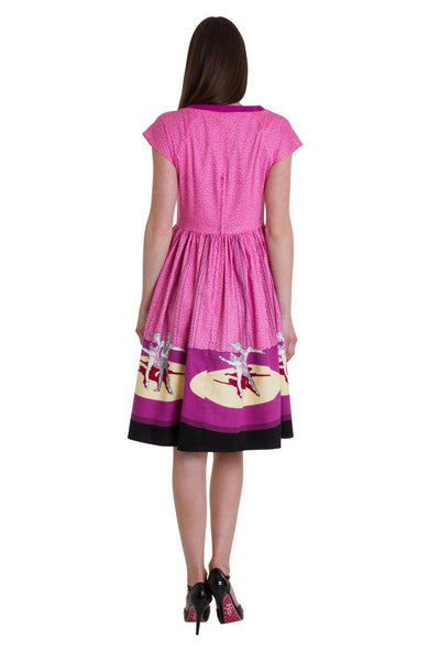 Ballerina Border Cap Sleeve Dress-Banned-Dark Fashion Clothing