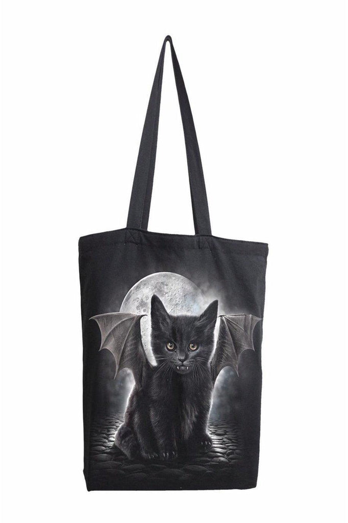 Bat Cat - Bag 4 Life - Canvas 80Z Long Handle Tote Bag-Spiral-Dark Fashion Clothing