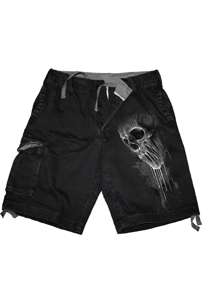 Bat Curse - Vintage Cargo Shorts Black-Spiral-Dark Fashion Clothing