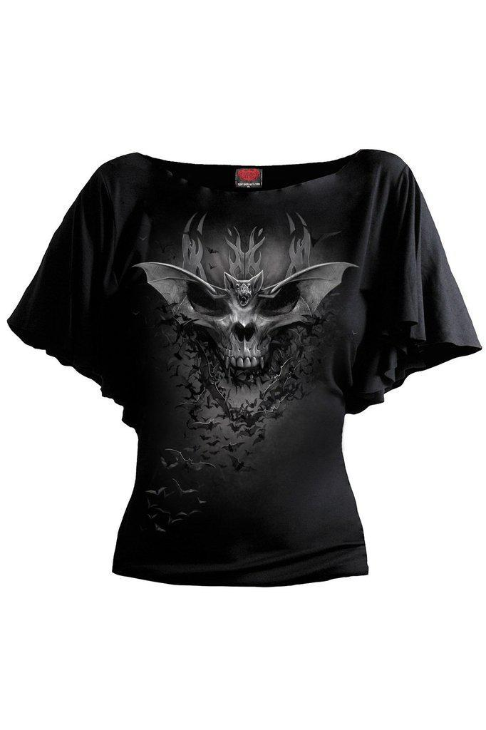 Bat Skull - Boat Neck Bat Sleeve Top Black-Spiral-Dark Fashion Clothing