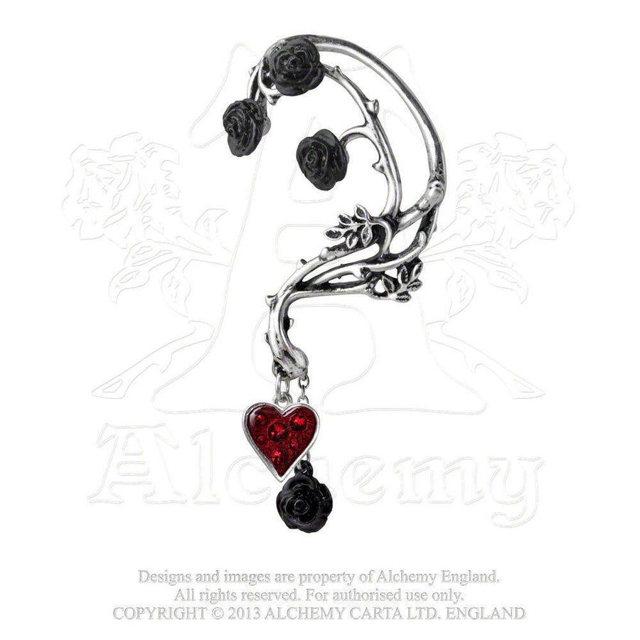 Bed of Blood Roses Ear Wrap – Pewter-Alchemy-Dark Fashion Clothing