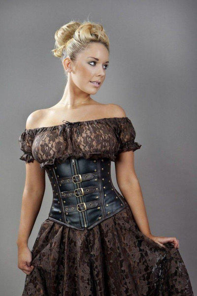 7d029400650e35 Biker Underbust Corset With Studs In Matte Vinyl-Burleska-Dark Fashion  Clothing