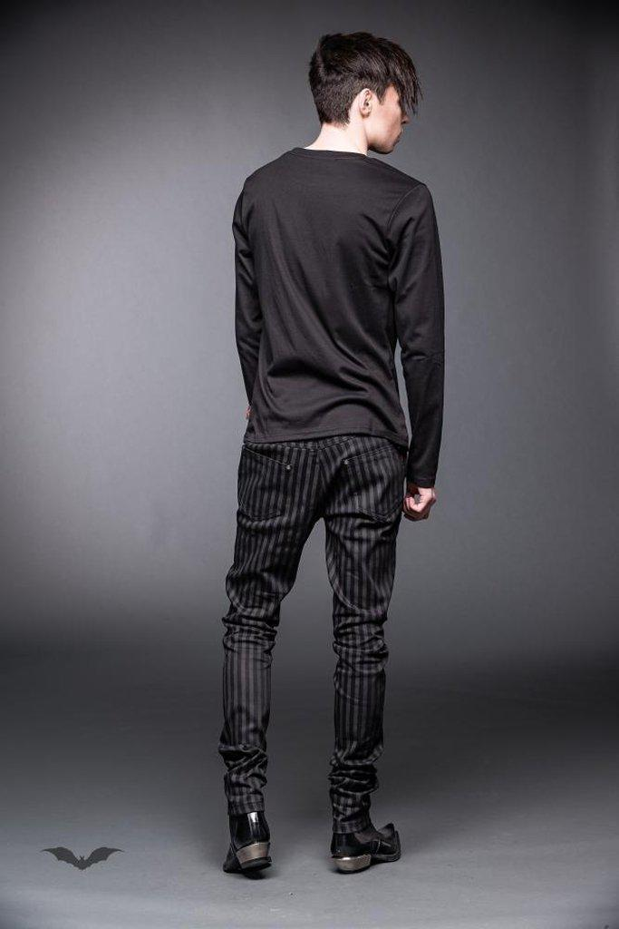 Black And Grey Pinstriped Pants-Queen of Darkness-Dark Fashion Clothing