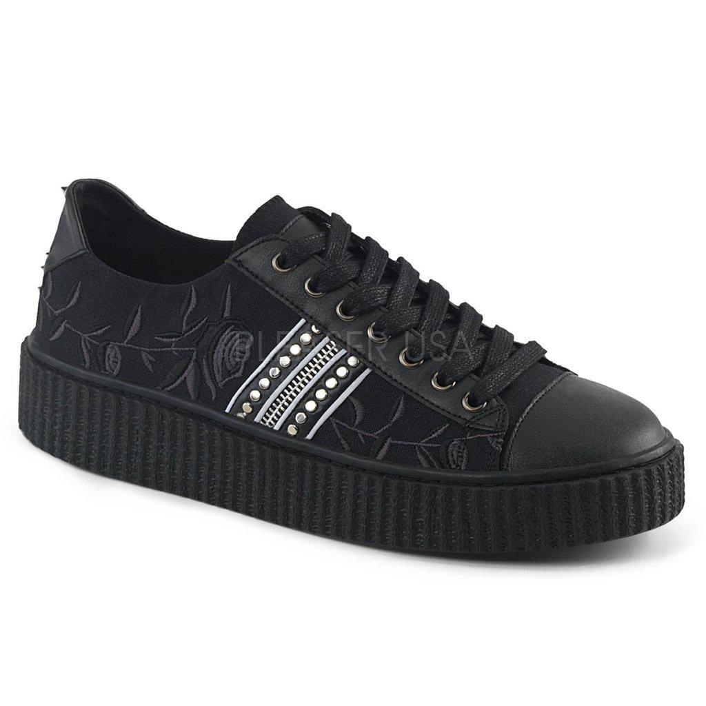 Black Canvas Black-Pu Lace-Up Front Creeper Sneaker SNEEKER-106 - Unisex-Demonia-Dark Fashion Clothing