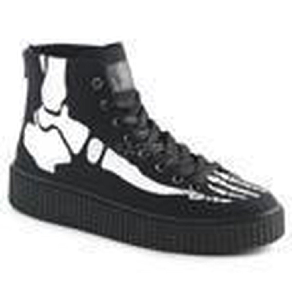 Black Canvas Lace-Up Front Creeper Sneaker SNEEKER-252 - Unisex-Demonia-Dark Fashion Clothing