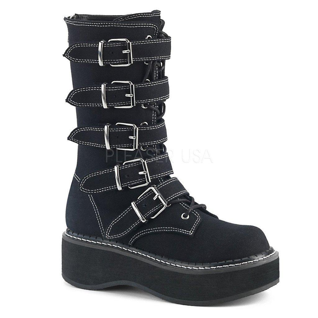 Black Canvas Platform Lace-Up Front Mid-Calf Boots EMILY-341 - Womens-Demonia-Dark Fashion Clothing