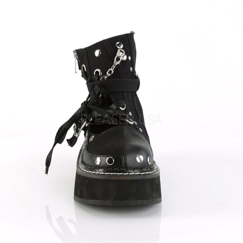 Black Canvas-Vegan Leather Ankle Booties EMILY-317 - Womens-Demonia-Dark Fashion Clothing