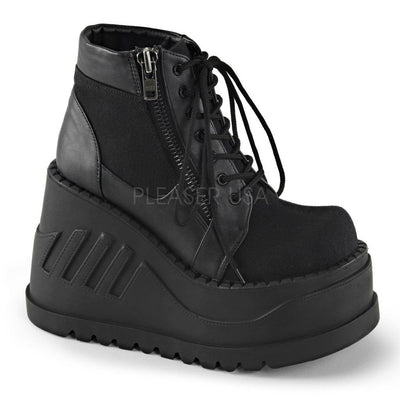 Black Canvas-Vegan Leather Vegan Boots - STOMP-10 - Womens-Demonia-Dark Fashion Clothing