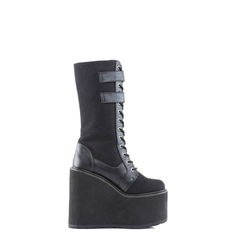 Black Canvas-Vegan Leather Vegan Boots - SWING-221 - Womens-Demonia-Dark Fashion Clothing