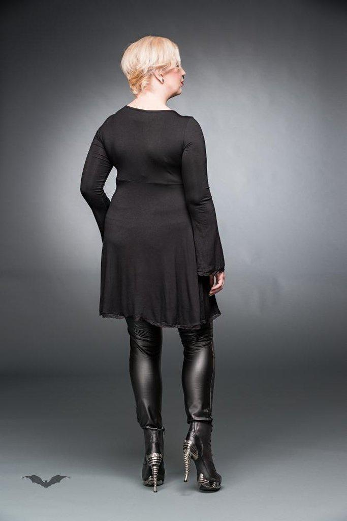 Black Dress With V-Neck And Lacings-Queen of Darkness-Dark Fashion Clothing