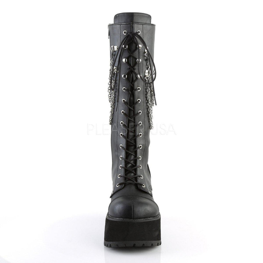 Black Faux Leather Vegan Boots RANGER-303 - Unisex-Demonia-Dark Fashion Clothing