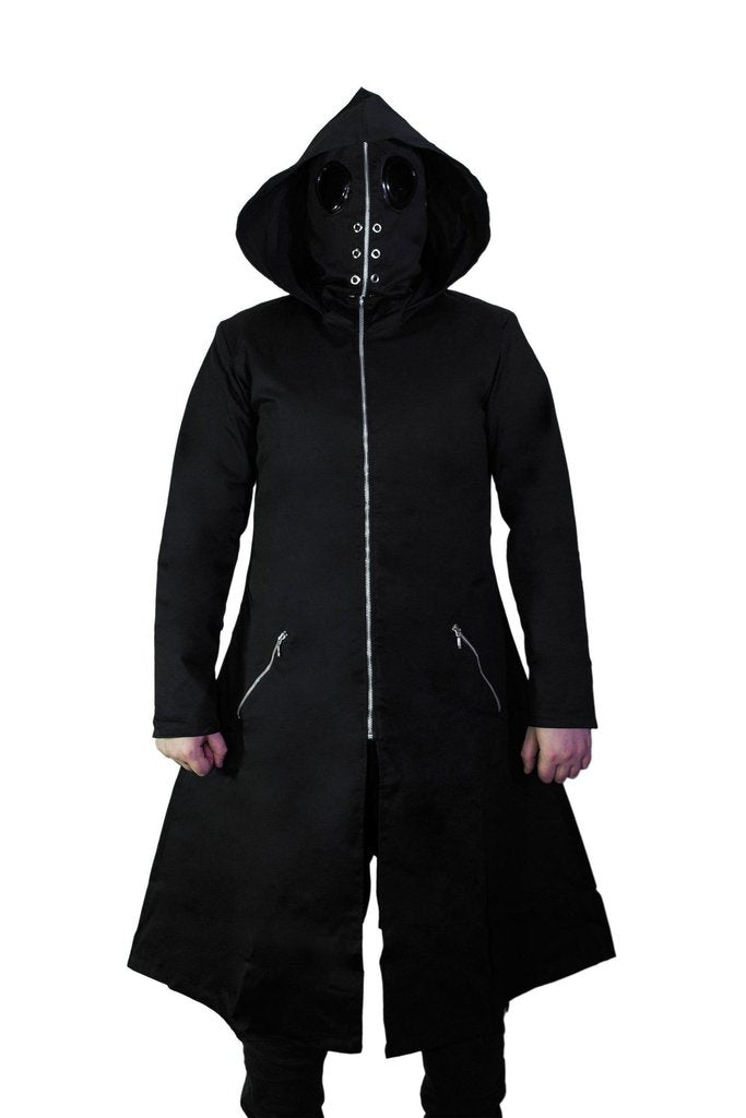Black Goggles Long Cotton Coat - Gregory-Dr Faust-Dark Fashion Clothing