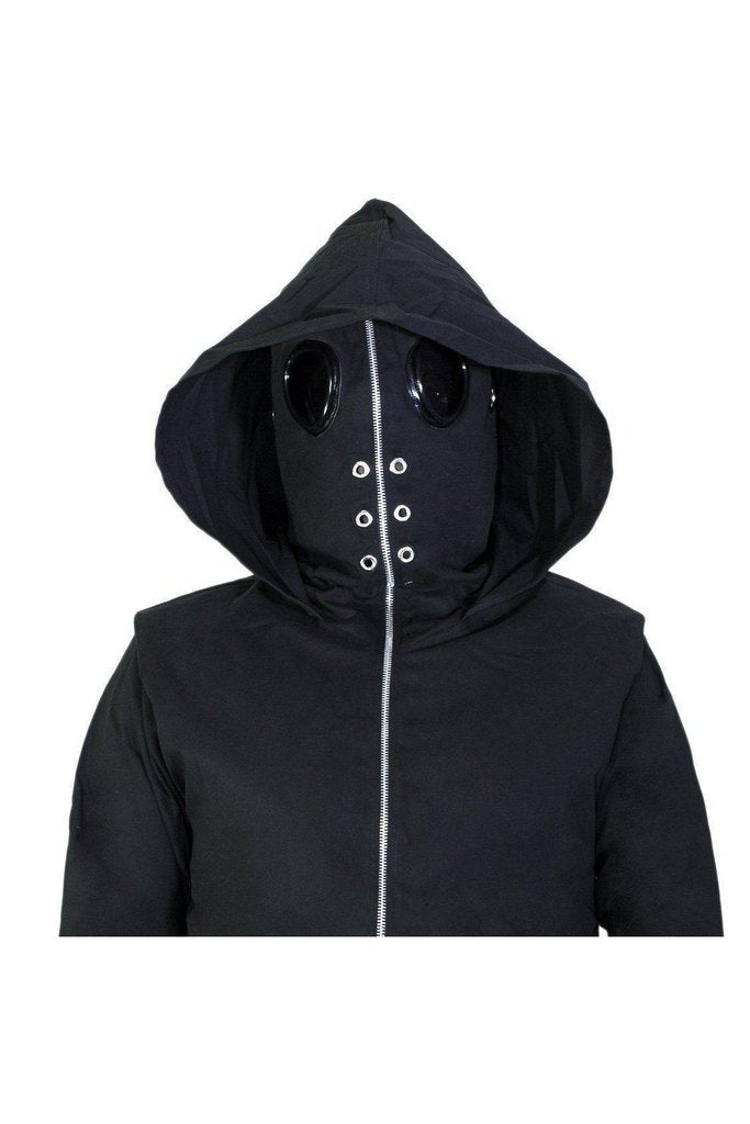 Black Goggles Short Cotton Jacket - Harvey-Dr Faust-Dark Fashion Clothing