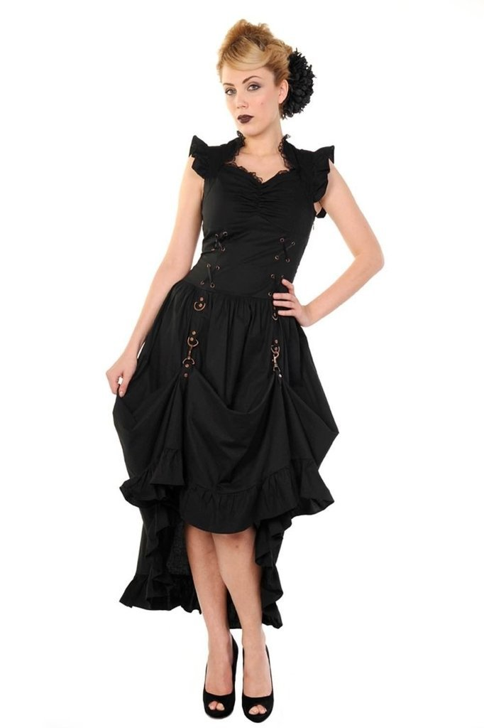 Black Gothic Copper Victorian Dress-Banned-Dark Fashion Clothing