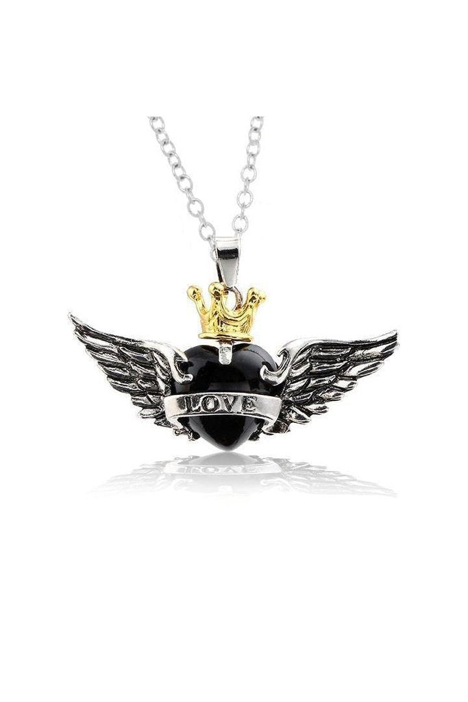 Black Heart Wings Crown Love Pendant and Necklace - Amira-Dr Faust-Dark Fashion Clothing