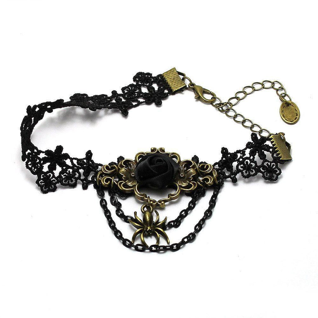 Black Lace Goth Anklet Rose and Spider Design-Badboy-Dark Fashion Clothing
