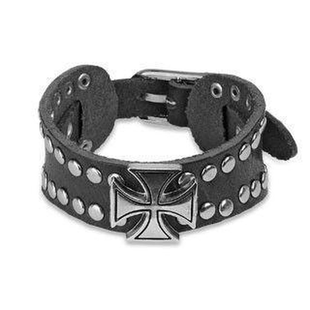 Black Leather and Steel Bracelet With Iron Cross and Studs-Spikes-Dark Fashion Clothing