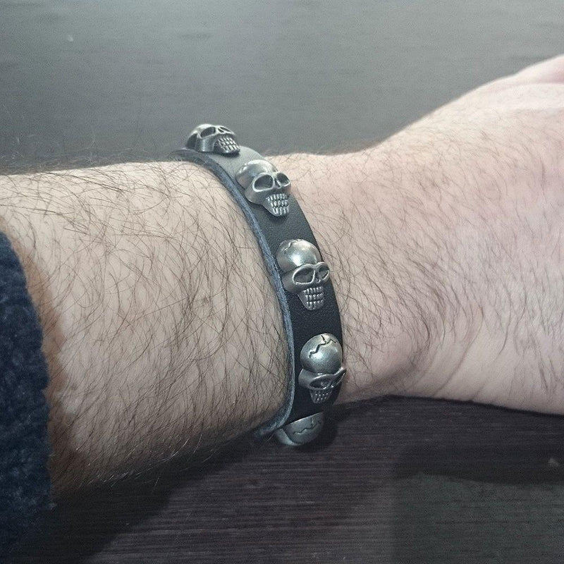 Black Leather Skulls Bracelet-Badboy-Dark Fashion Clothing