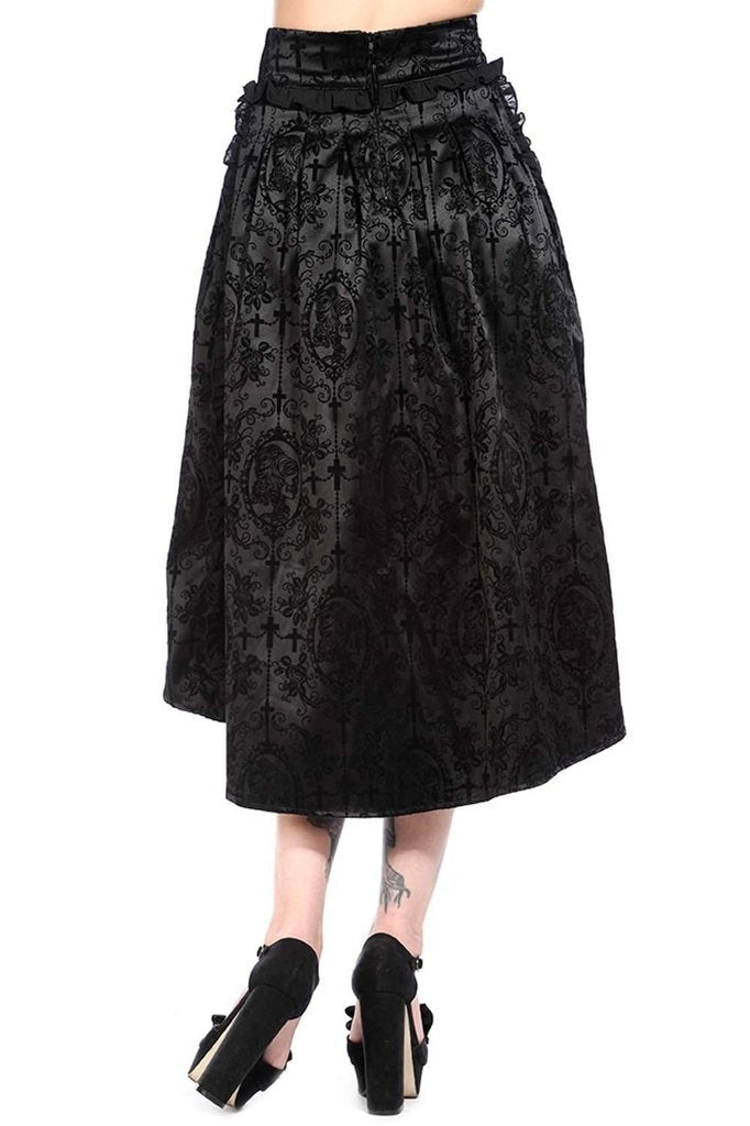 Black Long Gothic Skirt-Banned-Dark Fashion Clothing