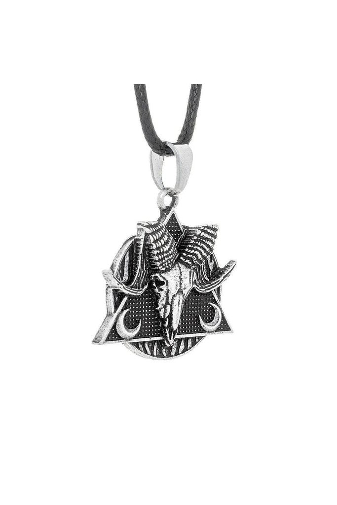 Black Occult Symbol DeltaRam Pendant and Necklace - Elise-Dr Faust-Dark Fashion Clothing