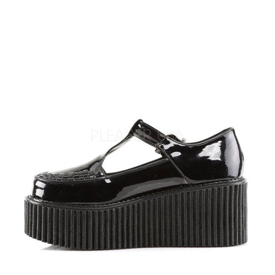 Black Patent Creepers - CREEPER-214 - Womens-Demonia-Dark Fashion Clothing
