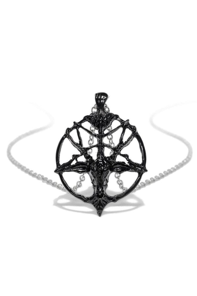 Black Seal of Baphomet PentaRam Pendant and Necklace - Teagan-Dr Faust-Dark Fashion Clothing