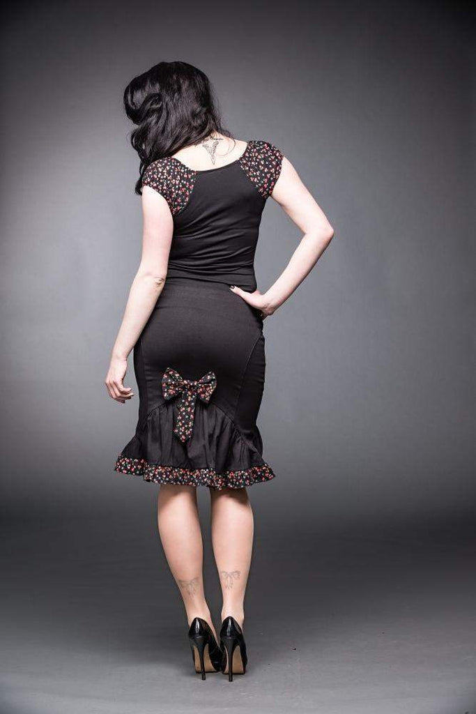 "Black Skirt With Bow And Ruching ""Cherry-Queen of Darkness-Dark Fashion Clothing"