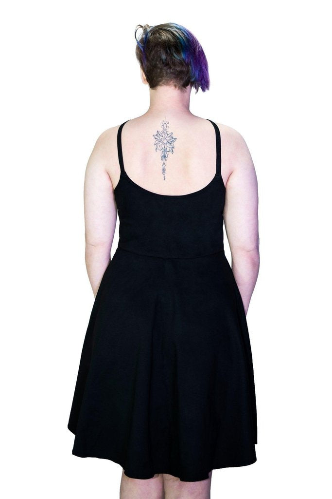 Black Strap Pentagram Plus Size Midi Dress - Onna-Dr Faust-Dark Fashion Clothing