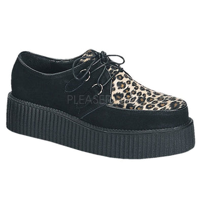 Black Suede-Cheetah Fur Creepers - CREEPER-400 - Unisex-Demonia-Dark Fashion Clothing