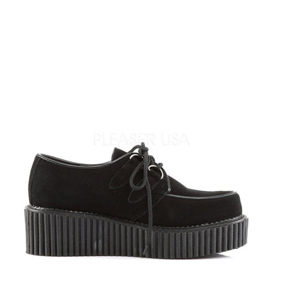 Black Suede Creepers - CREEPER-101 - Womens-Demonia-Dark Fashion Clothing