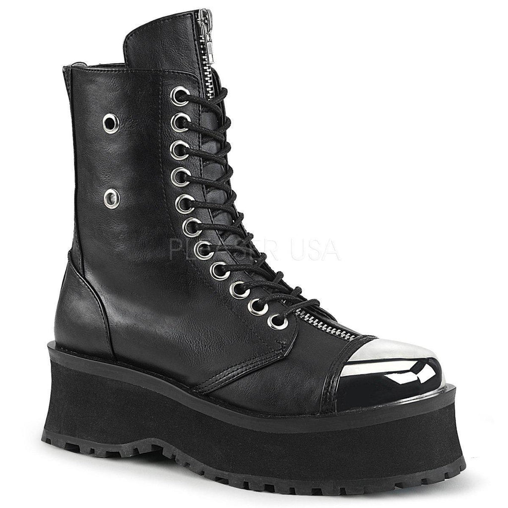 Black Vegan Leather Boots GRAVEDIGGER-10 - Unisex