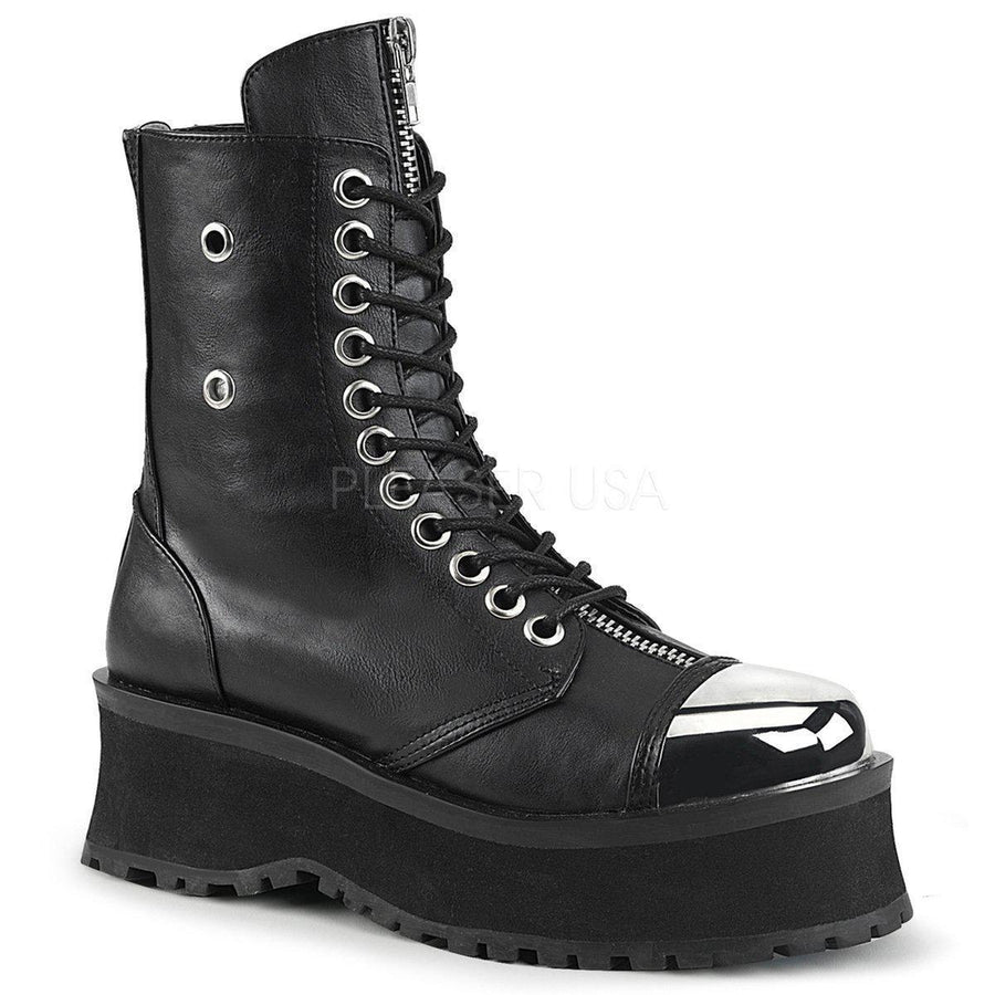 Black Vegan Leather Boots GRAVEDIGGER-10 - Unisex-Demonia-Dark Fashion Clothing