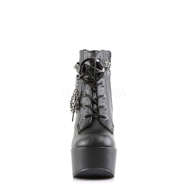 Black Vegan Leather Boots POISON-101 - Womens