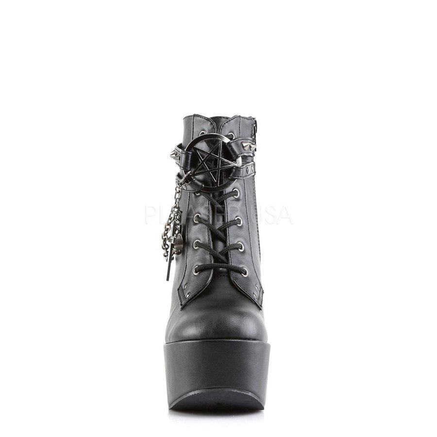 Black Vegan Leather Boots POISON-101 - Womens-Demonia-Dark Fashion Clothing