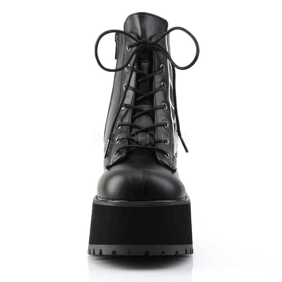 Black Vegan Leather Boots RANGER-105 - Womens-Demonia-Dark Fashion Clothing