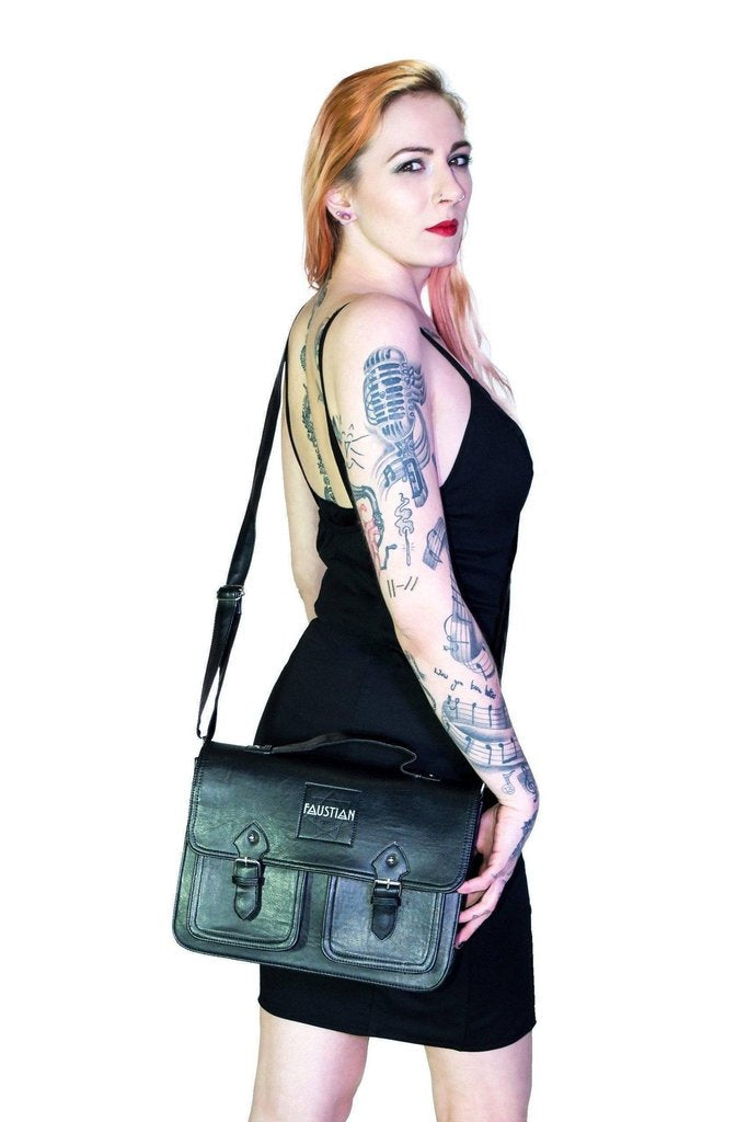 Black Vegan Leather Cross Body Satchel Bag - Harlow-Dr Faust-Dark Fashion Clothing