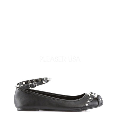 Black Vegan Leather Flats - STAR-23-Demonia-Dark Fashion Clothing