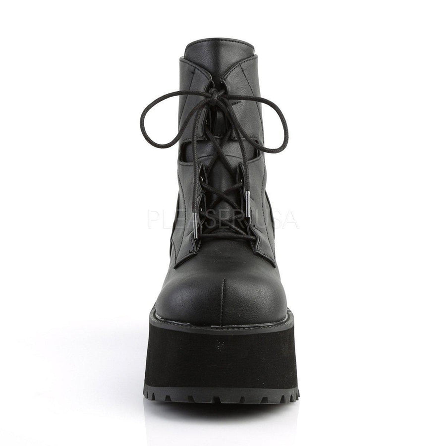 Black Vegan Leather Platform Boots RANGER-102 - Womens-Demonia-Dark Fashion Clothing
