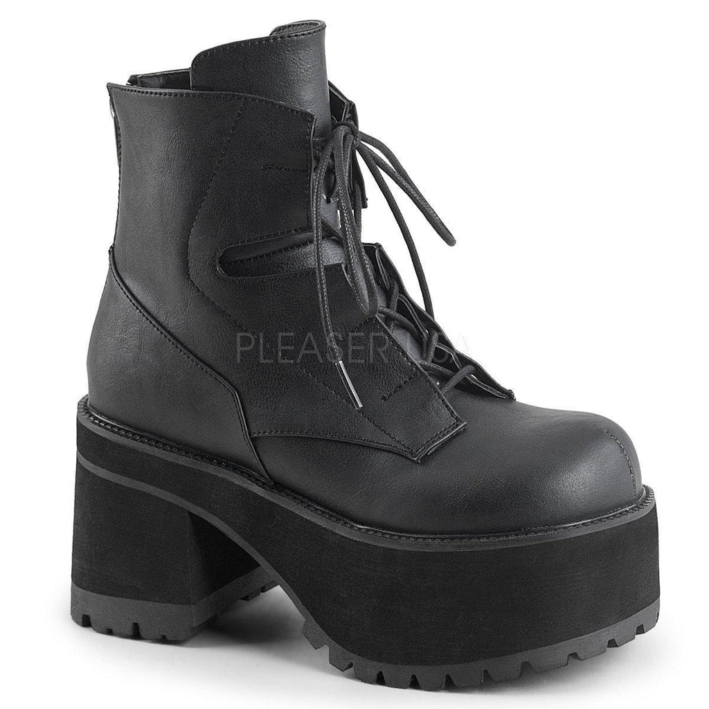Black Vegan Leather Platform Boots RANGER-102 - Womens