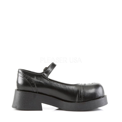 Black Vegan Leather Platform Shoes - CRUX-07 - Womens-Demonia-Dark Fashion Clothing