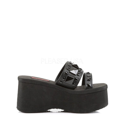 Black Vegan Leather Platform Shoes - FUNN-18 - Womens-Demonia-Dark Fashion Clothing