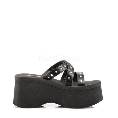 Black Vegan Leather Platform Shoes - FUNN-19 - Womens-Demonia-Dark Fashion Clothing