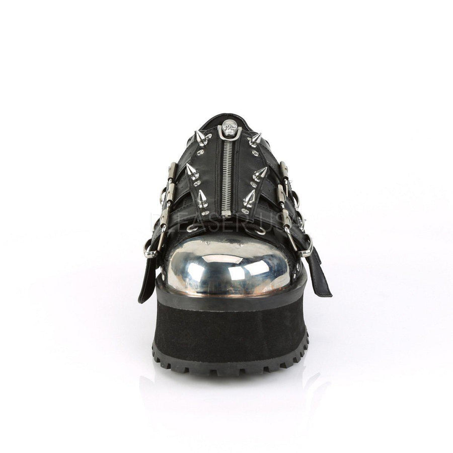 Black Vegan Leather Platform Shoes GRAVEDIGGER-03 - Unisex